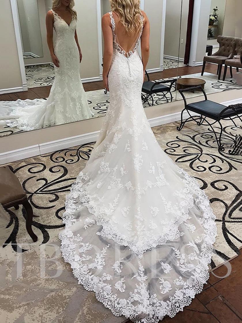 V Neck Appliques Backless Mermaid Lace Wedding Dress Backless Lace Wedding Dress Wedding Dresses Bridal Dresses Lace [ 1120 x 840 Pixel ]