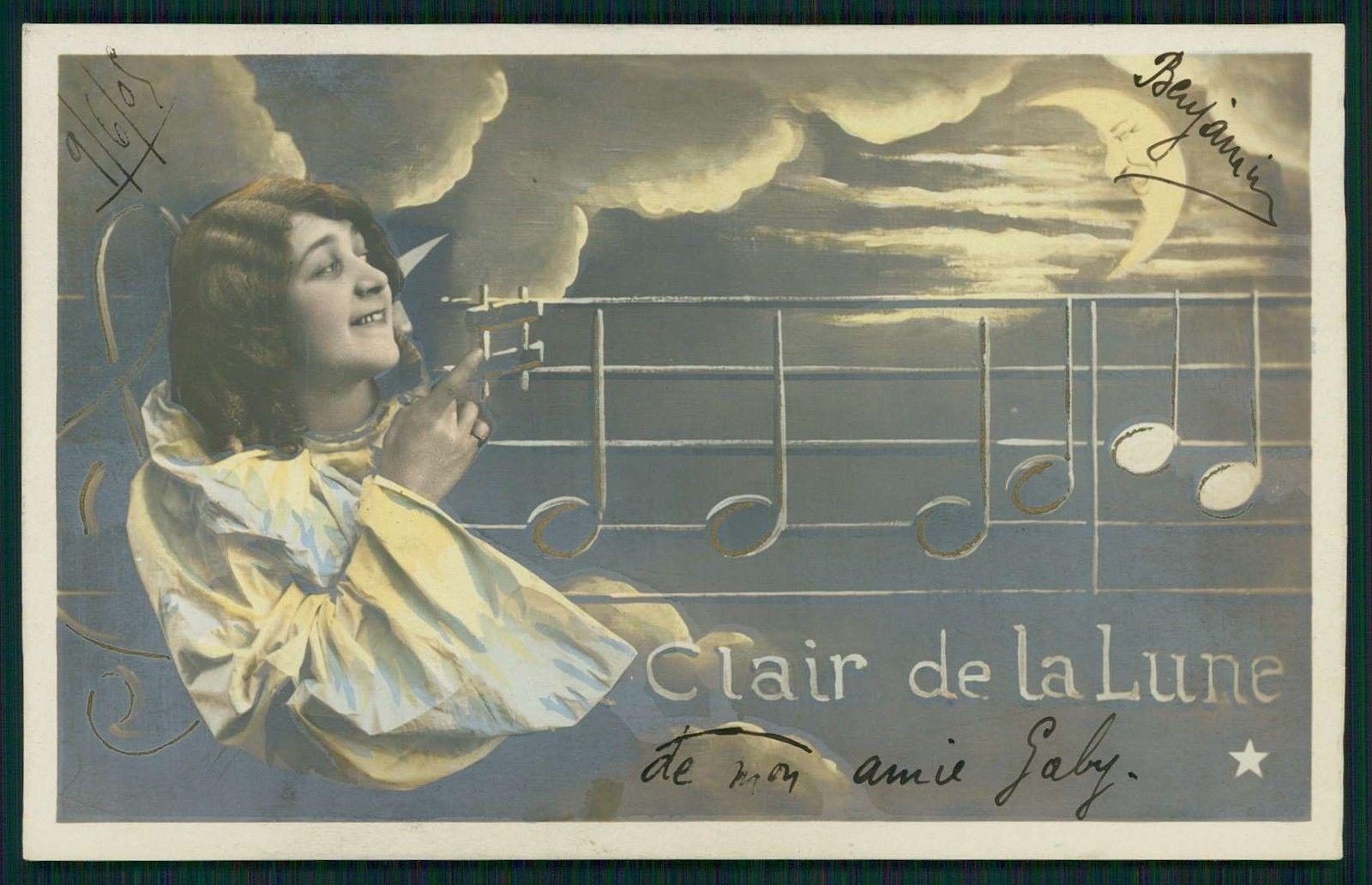 Pretty Edwardian Lady Staff Music Moon Original Vintage Old 1910s Photo Postcard