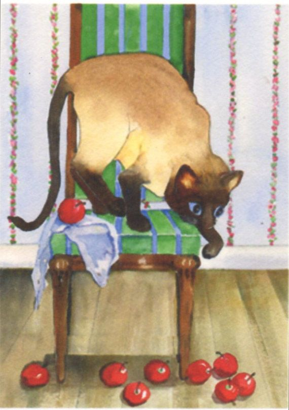 ACEO SIAMESE CAT playful and green chair by WinnieMarsArtWorks, $3.00