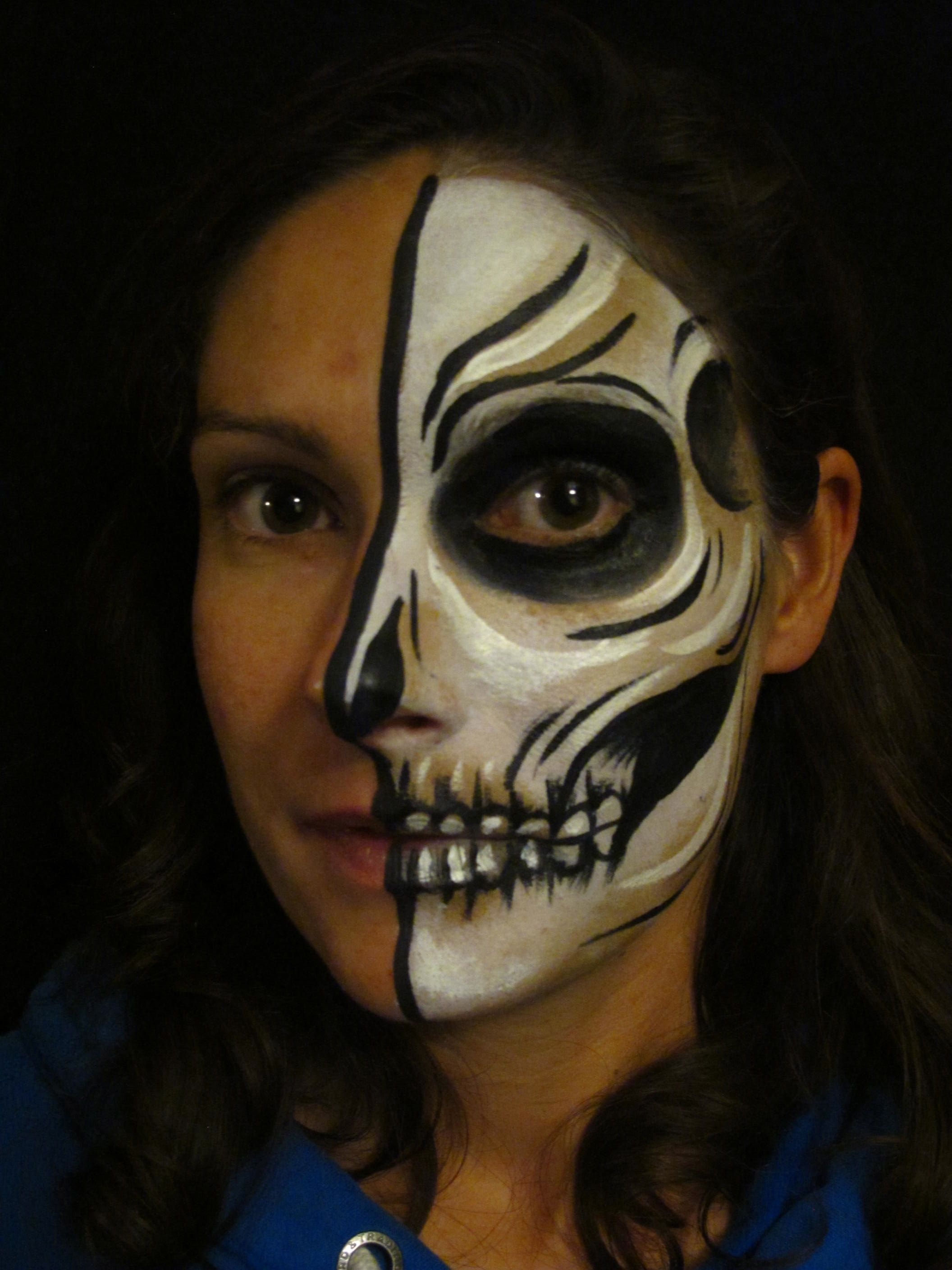 half skull face paint tutorial alana dunlevy is a bristol based face and body painter here she guides you through creepy halloween skull face painting - Halloween Skull Face Paint Ideas