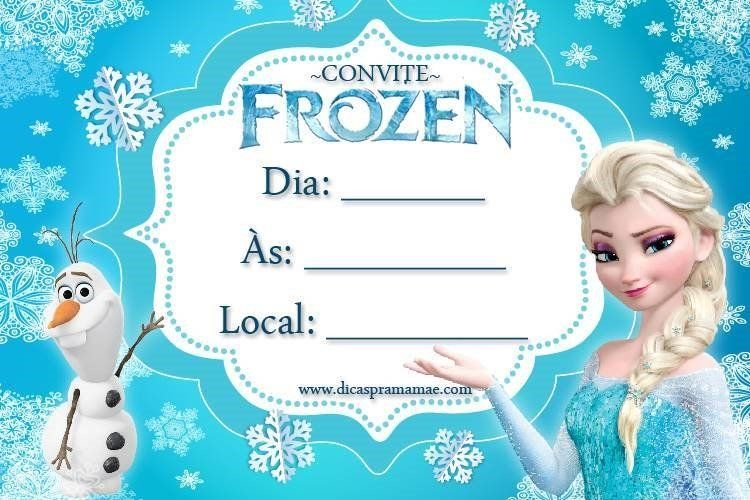 Convite do Frozen para imprimir continue vendo...