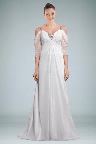 Vogue Spaghetti Straps V-neck V-back Wedding Dress Featuring Sheer ...