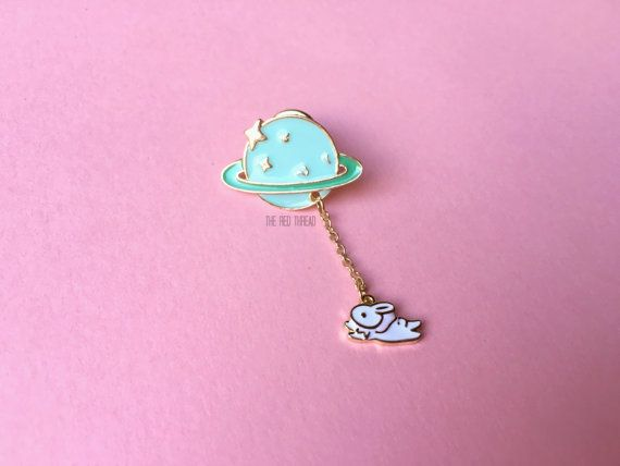 90b42daa06e Take me to Saturn Enamel Pin Cute Rabbit Planet by RedThreadStore ...