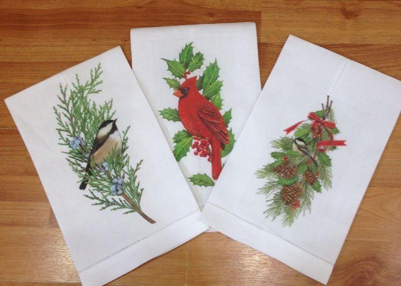 Toallas de lino con motivos navideños toallas Pinterest