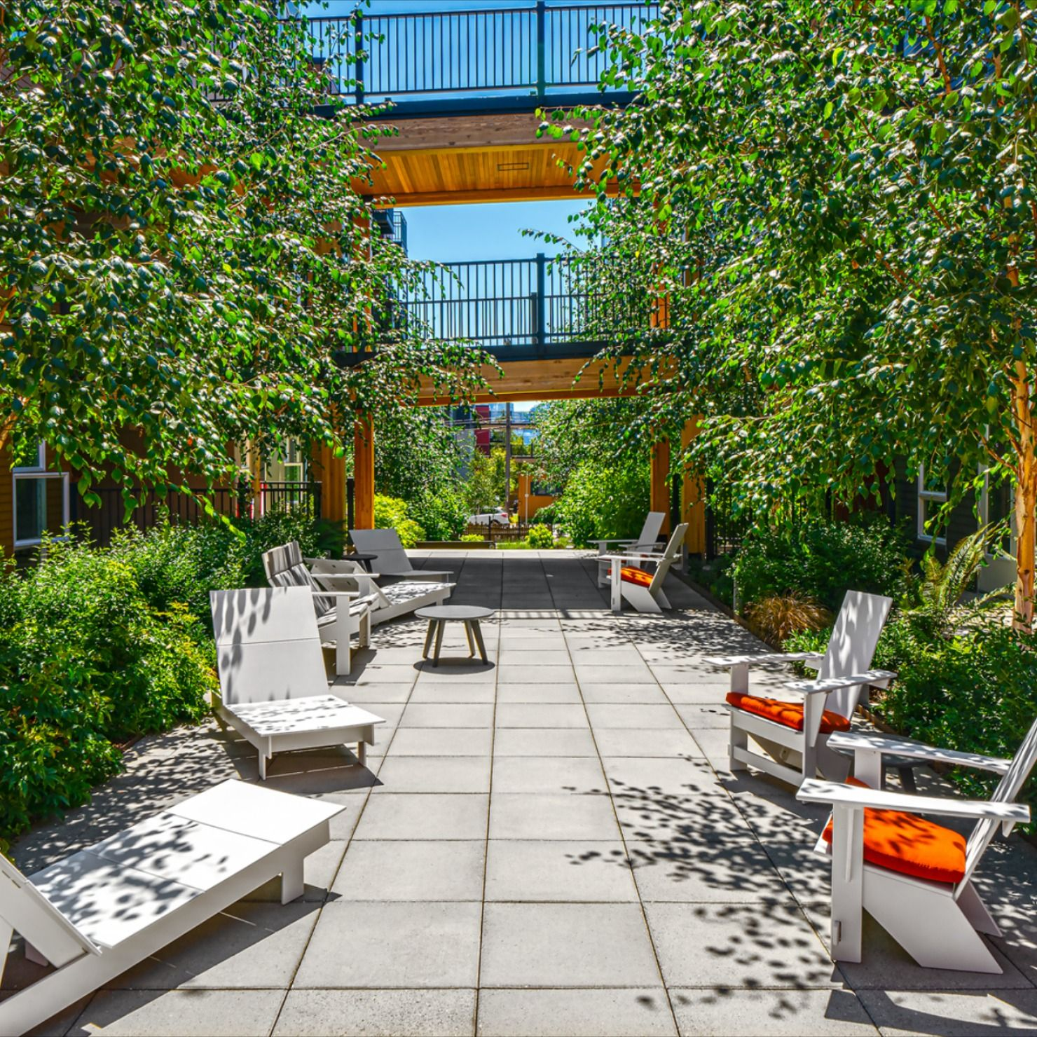 Tour the landscaped courtyard of our Wallingford