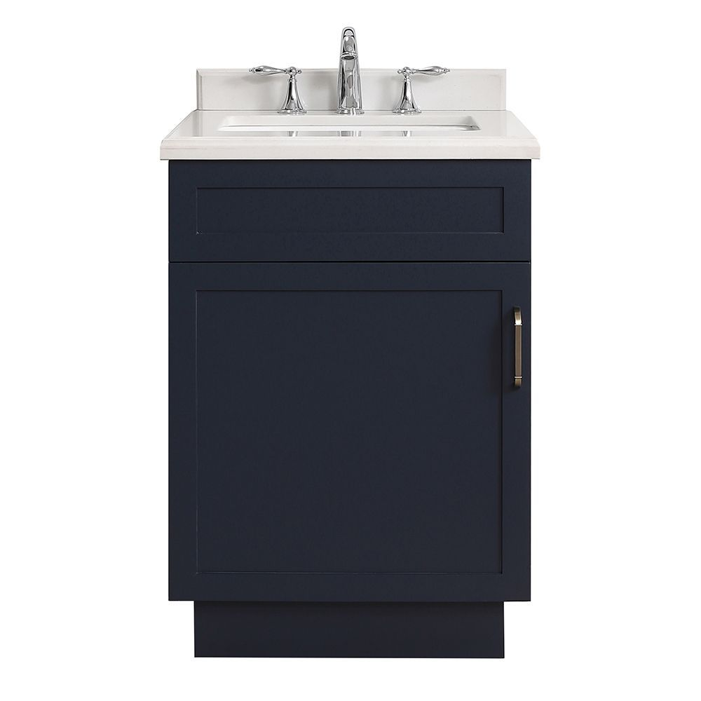 Lincoln 24 Inch Midnight Blue Vanity Bathroom Cabinet Marble