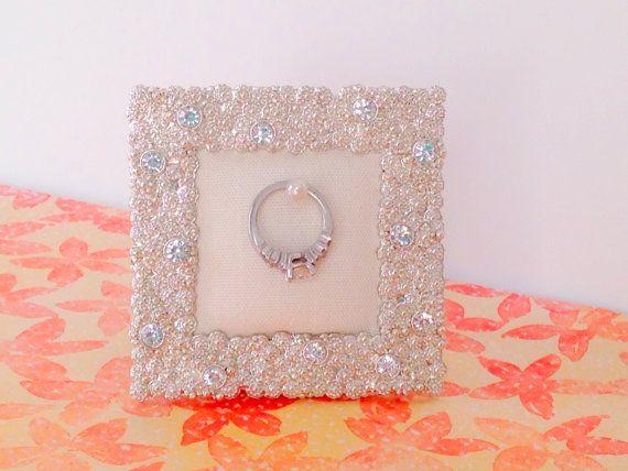 Wedding Ring Holder Small Square Diamond Rhinestone Frame Engagement Bridal Shower Gift