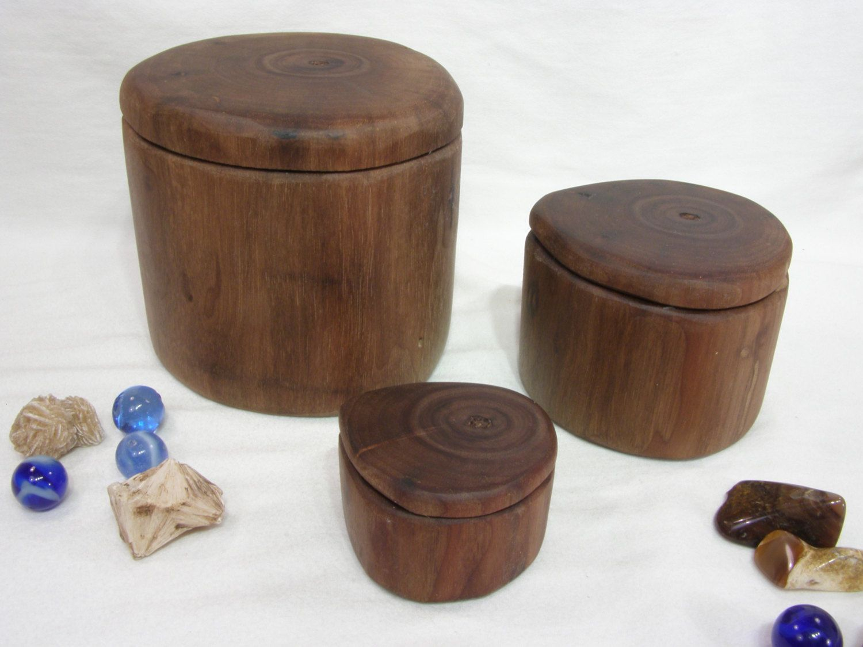 Black walnut branch set of three wooden boxes nesting