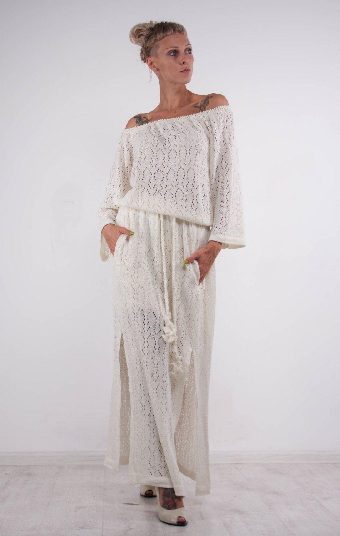 White off the shoulder dress crochet white dress knit wedding maxi