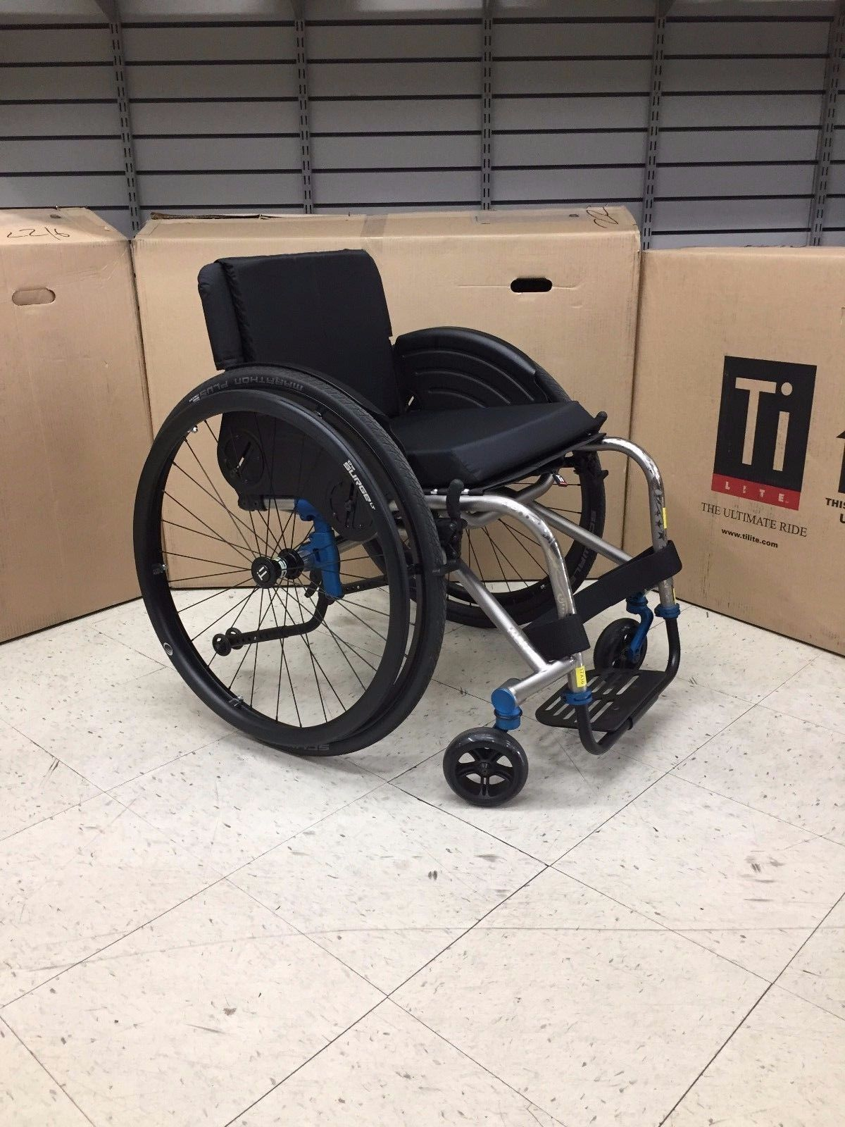 TILITE TRA SERIES 2 TITANIUM RIGID MANUAL WHEELCHAIR WITH TATTOOS (check  out SIDE GUARDS!)