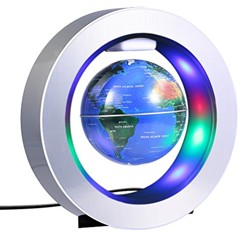 Levitating Globe C Shape Floating Globe With LED Lights Magnetic Field Levitation World Map Globe Gravity Educational Christmas Gift Home Office Desk Decoration Black
