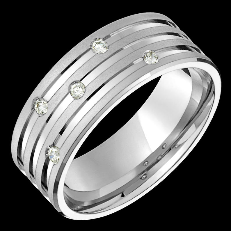 8mm wide comfort fit 10k white gold (solid not plated) men