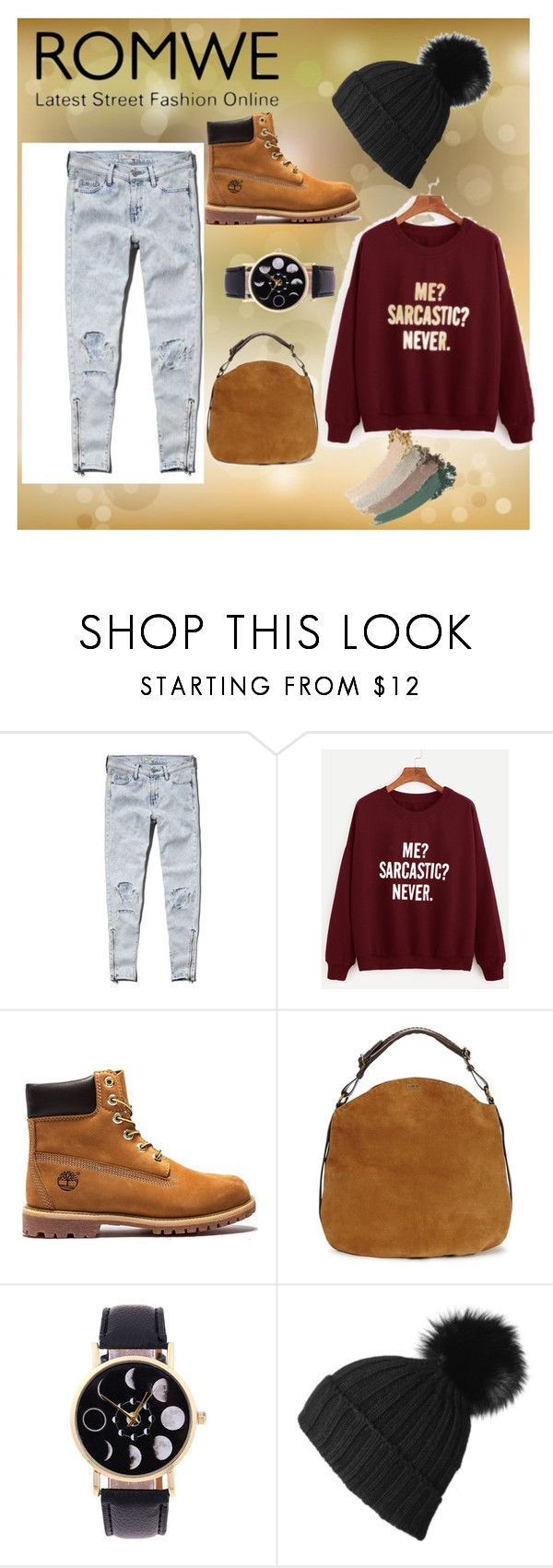 """""""ROMWE"""" by sabrina-8591 ❤ liked on Polyvore featuring Abercrombie & Fitch, UGG, Black and Gucci"""