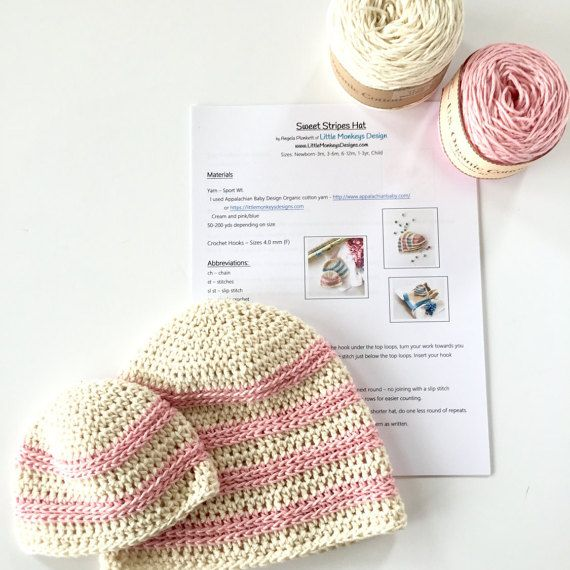 Crochet PATTERN and yarn Kit for Organic Cotton Baby Hat by ...