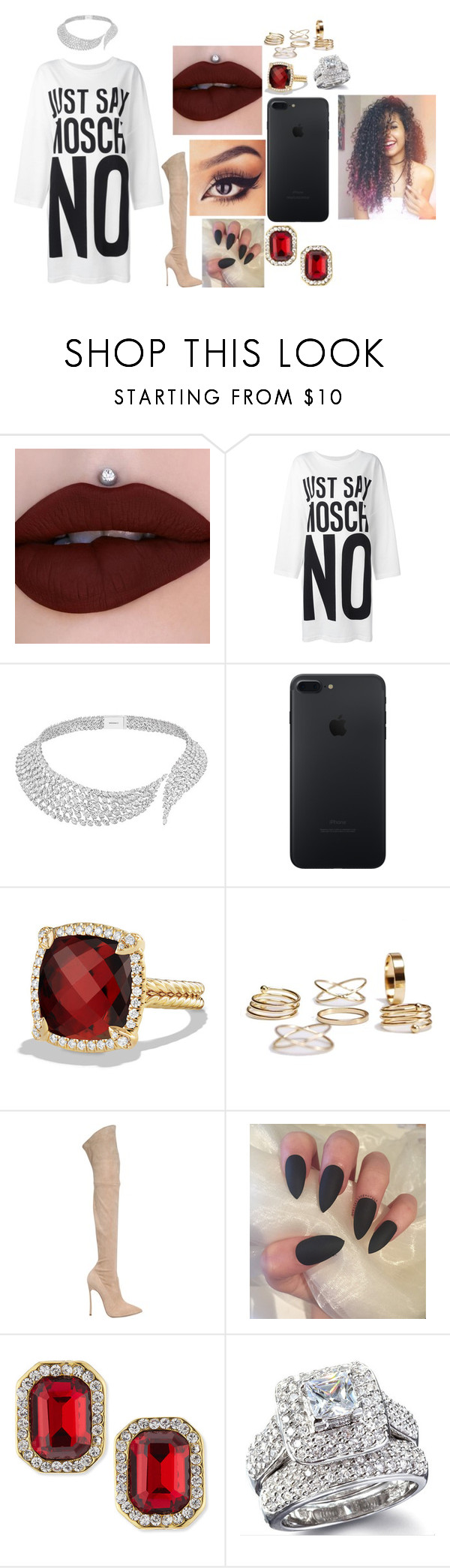 """Sem título #802"" by samaralucia on Polyvore featuring moda, Moschino, Messika, David Yurman, Casadei e Kenneth Jay Lane"