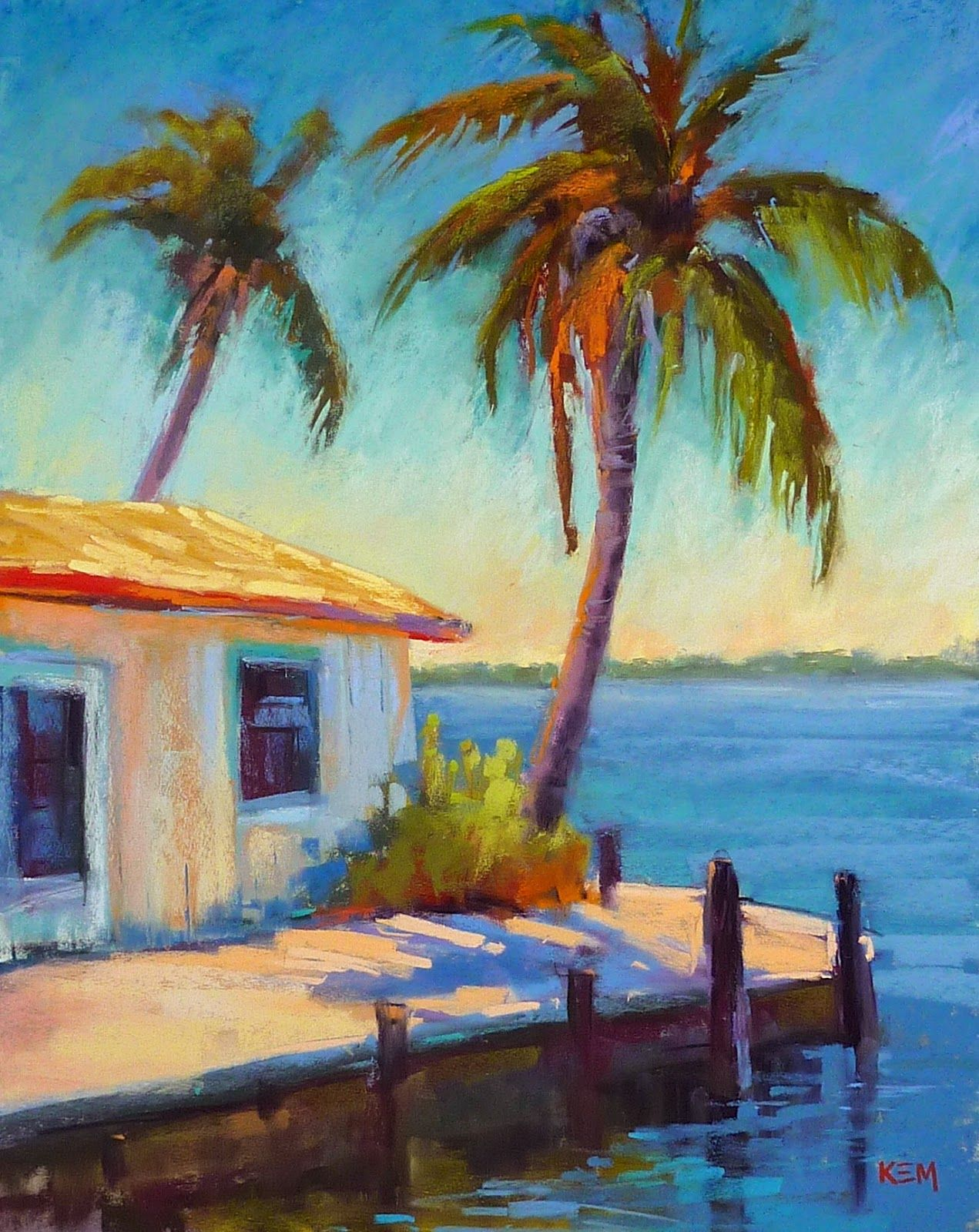 Painting My World Monday Mini Pastel Demo Old Florida Fishing