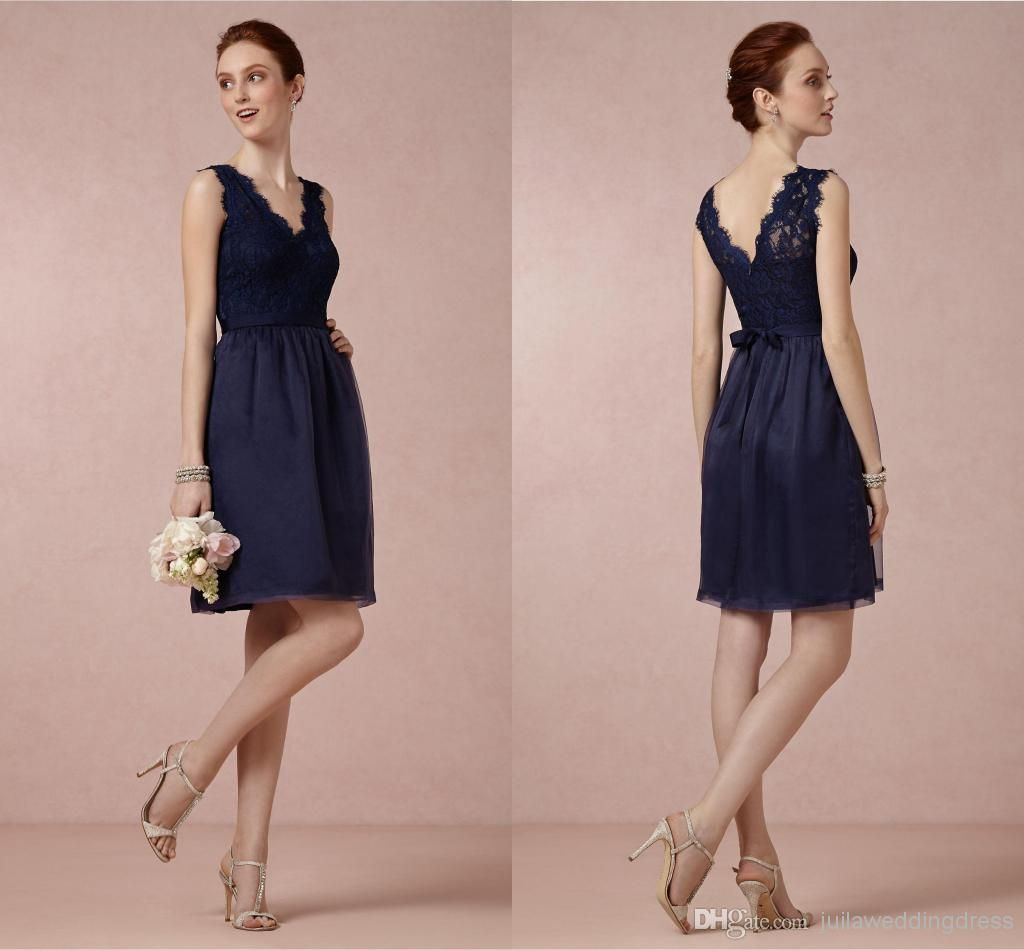 Cheap Bridesmaid Dresses - Discount Glamorous Navy Blue Lace Top V ...