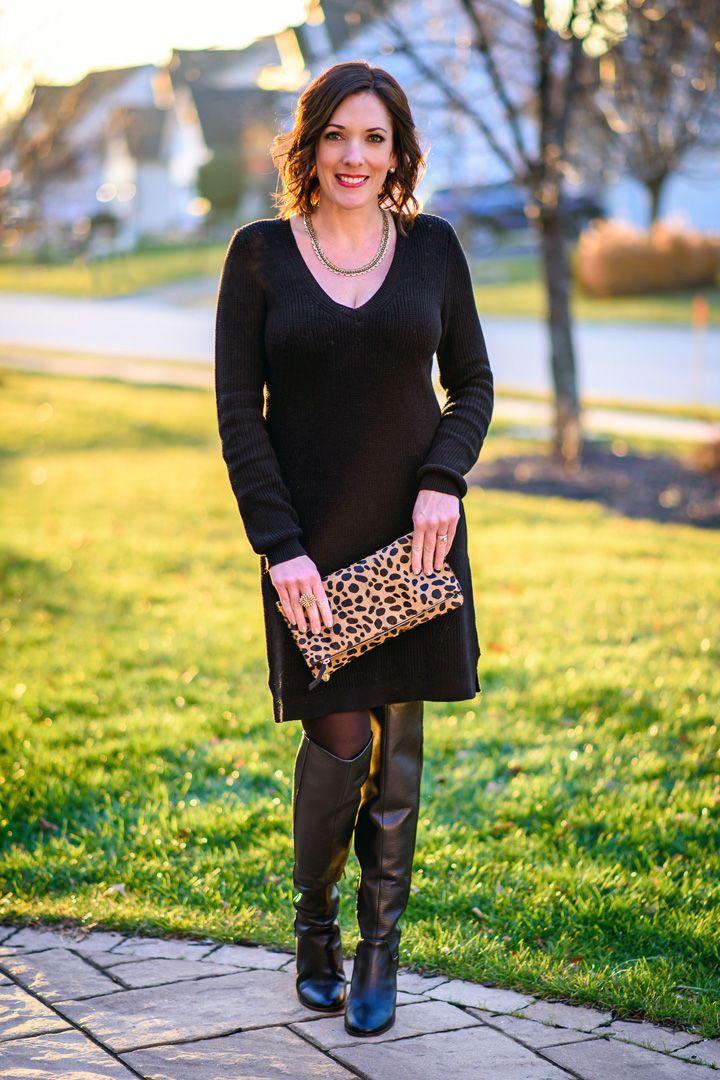Versatile Black Sweater Dress | Black sweater dress, Leopard ...