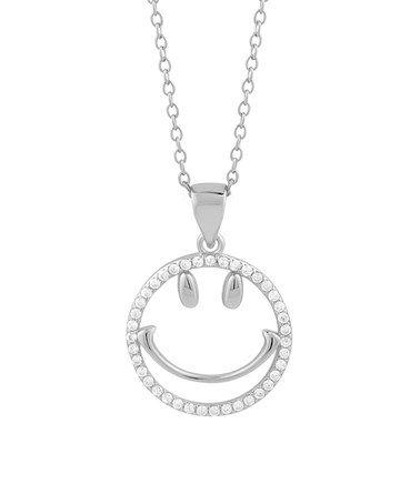 284fe8a38 Cubic Zirconia & Sterling Silver Emoji Smile Pendant Necklace #zulilyfinds