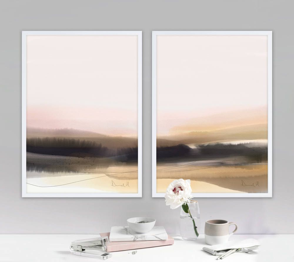 Best Set Of 2 Prints Abstract Landscape Bedroom Art Forest 400 x 300