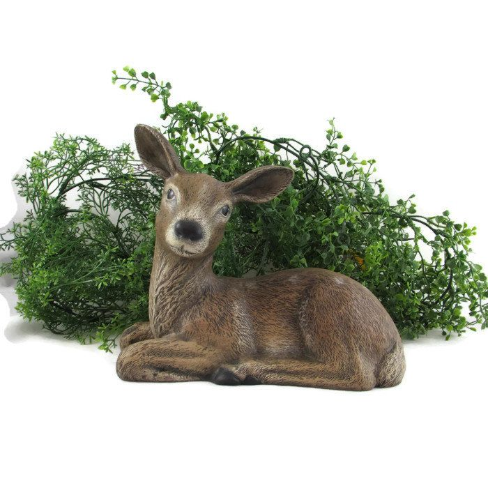 Ceramic Laying Deer 9 Inches Long Outdoor And Garden Outdoor Wildlife Nature Ceramics