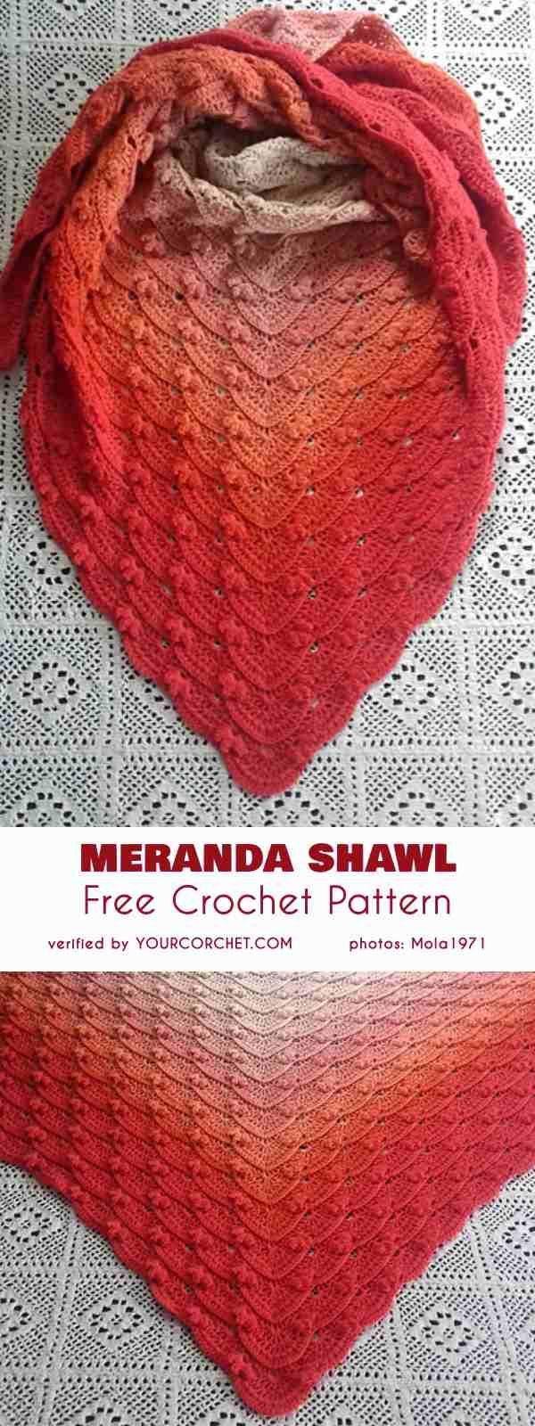 Meranda Shawl Free Crochet Pattern