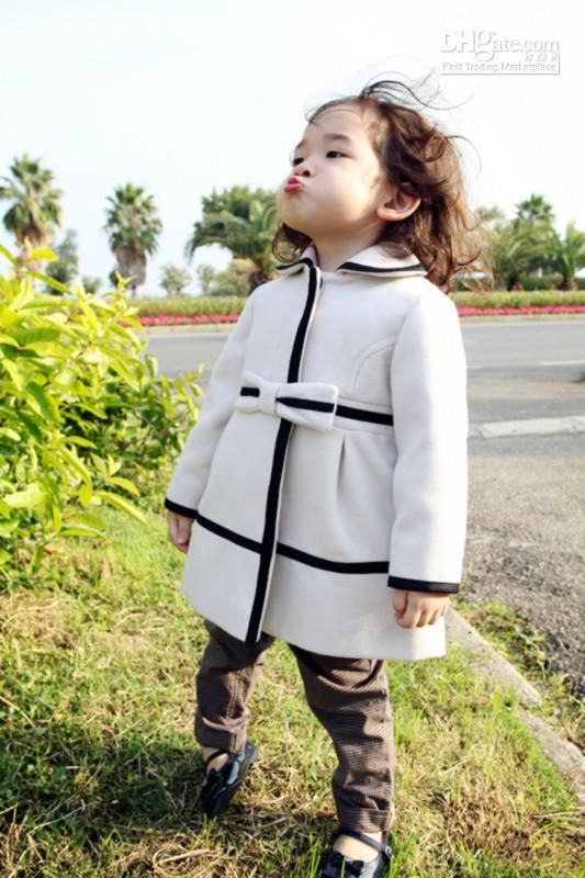 European baby girls Winter wool Coats kids girl stylish bowknot ...