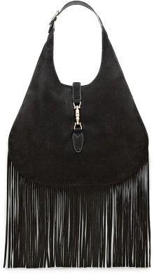 32f77e9328647c Gucci Nouveau Suede Fringe Hobo - Lyst Gucci Accessories, Bohemian Chic  Fashion, Leather Purses
