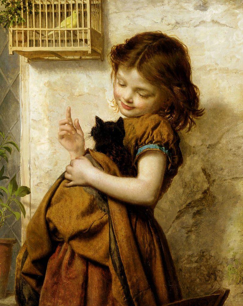 Фото картин человек с кошкой