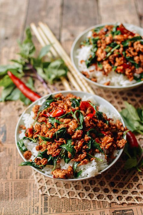 Thai Basil Chicken Easy Gai Pad Krapow Recipe Asian Food