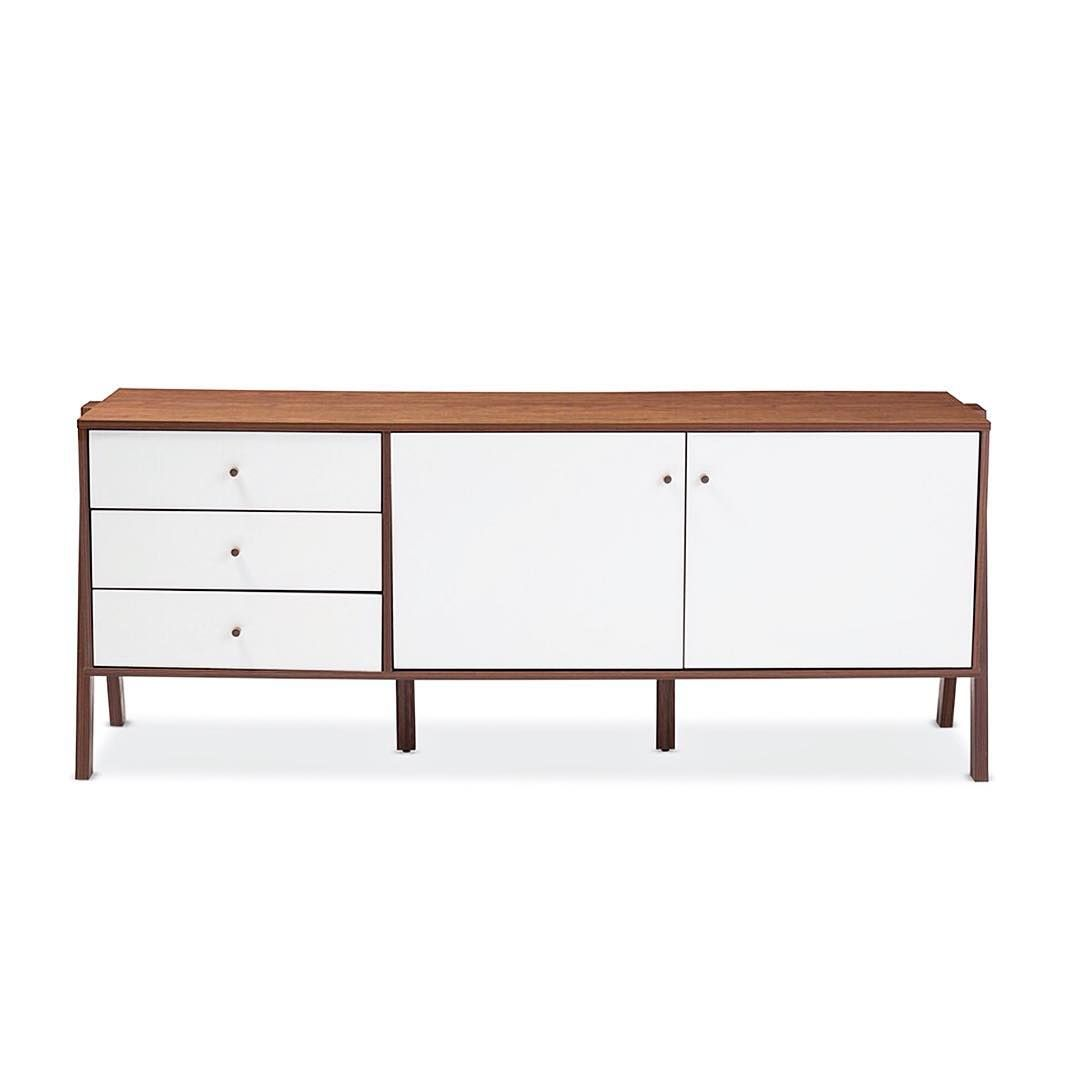 Harlow sideboard cabinet made from sustainably sourced engineered wood and sturdy rubber wood legs with lasting quality the sideboard is finished in white