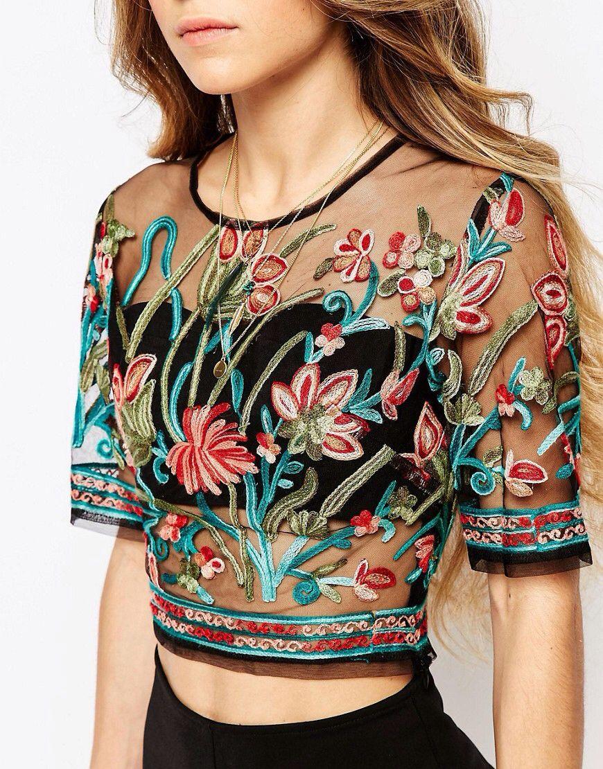 7e7e0cc941444 ebonie n ivory Sheer Mesh Crop Top In Festival Embroidery