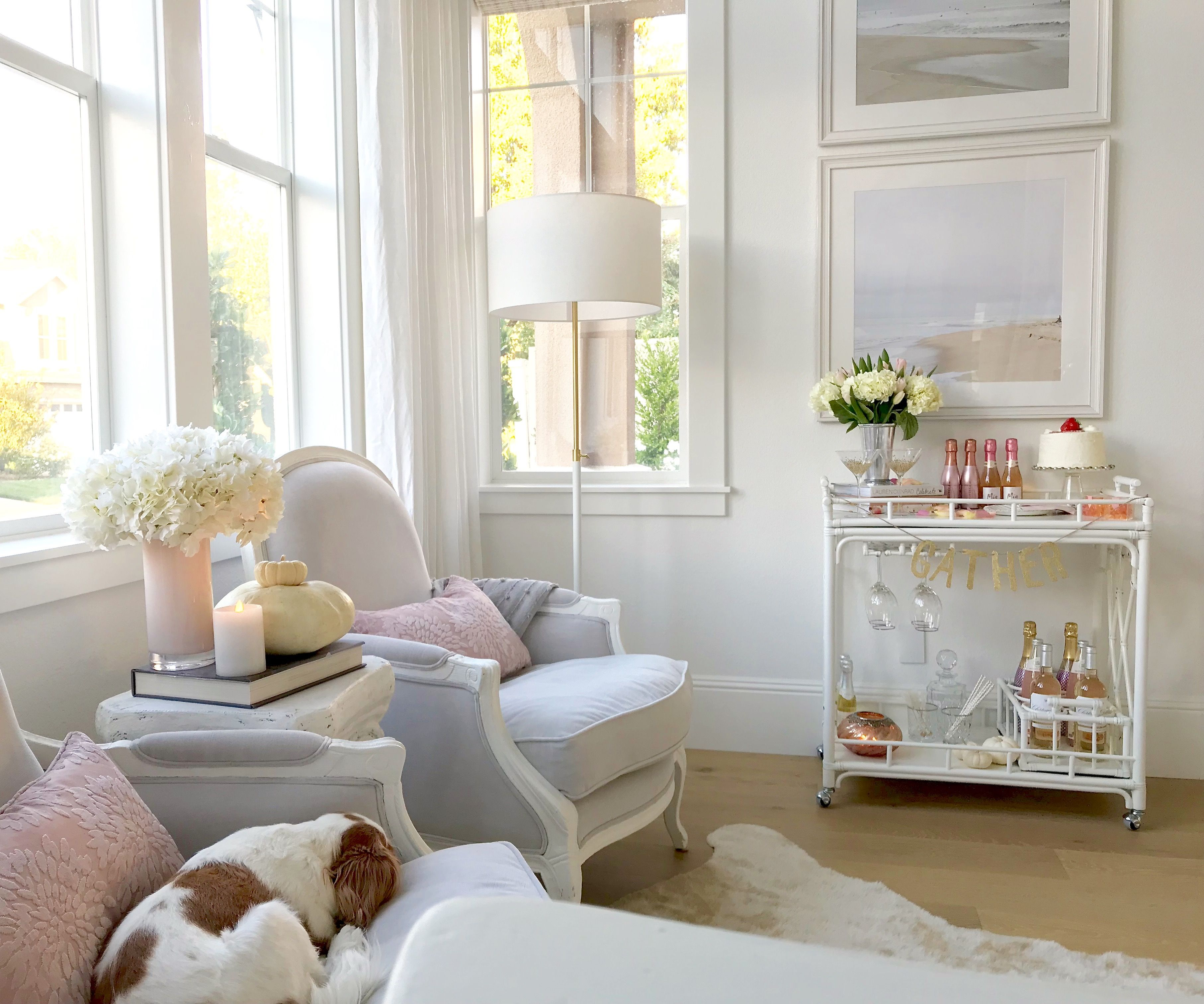 Styling My Blush White Bar Cart Kristywicks Com Living Room Bar Living Room Inspo Home