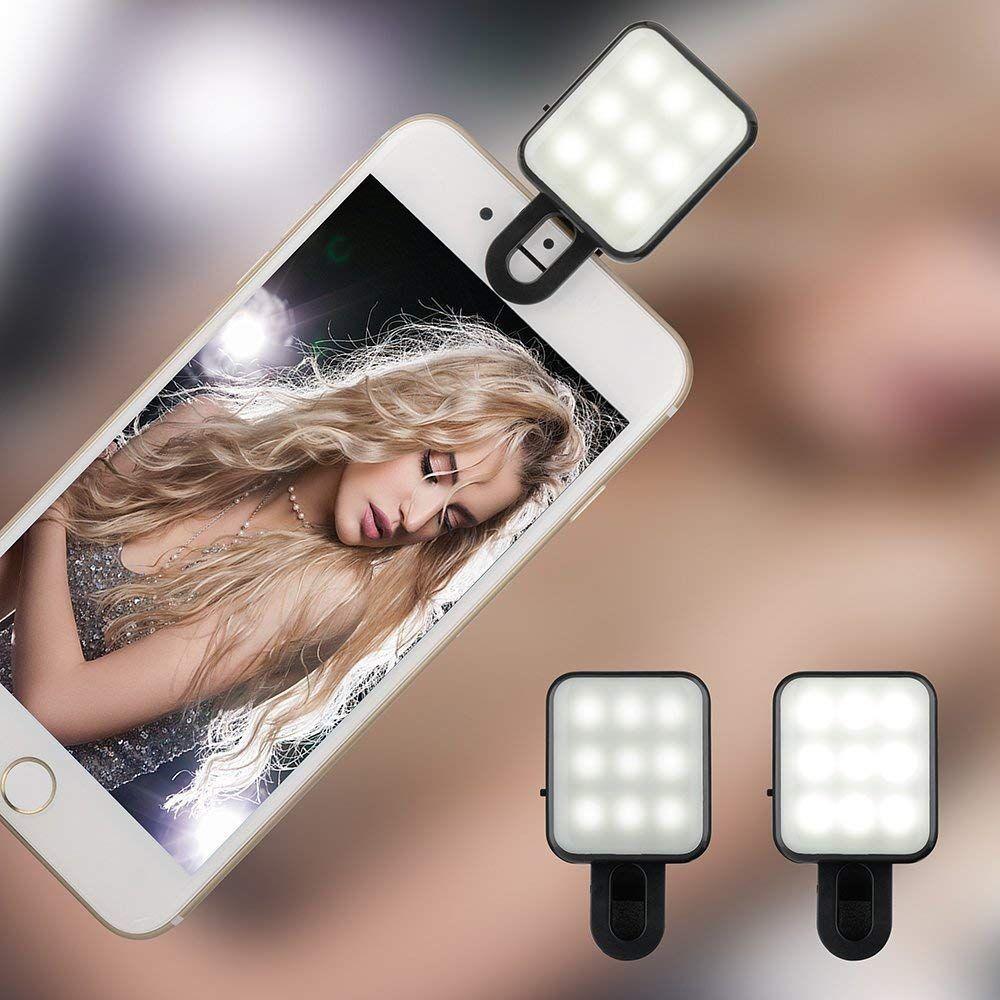 Bluebeach Mini Clip Sur Selfie Led Flash De Lumiere Photo Video Lampe Pour Smartphones Noir