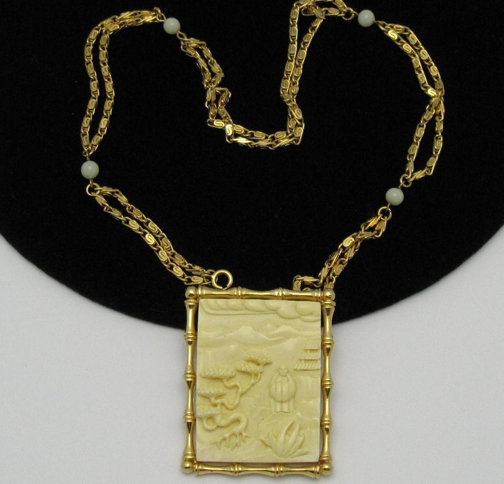hattie carnegie oriental asian carved lucite brooch