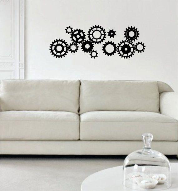 gears version 1 machine steampunk design decal sticker wall vinyl