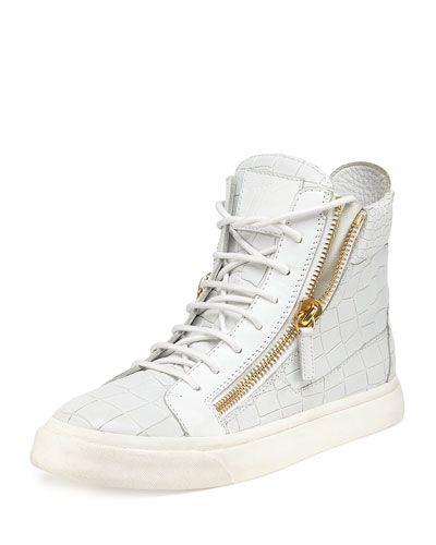 1feb76131833a X2G9M Giuseppe Zanotti Crocodile-Print High-Top Sneaker, Bianco (White)