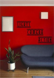 Home Theater Decor Decal Lights Camera Action Sign Basement Ideas
