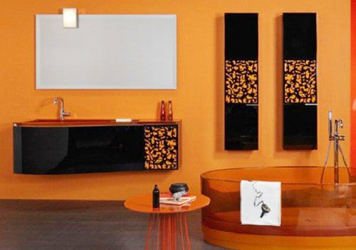 Orange Black Bathroom