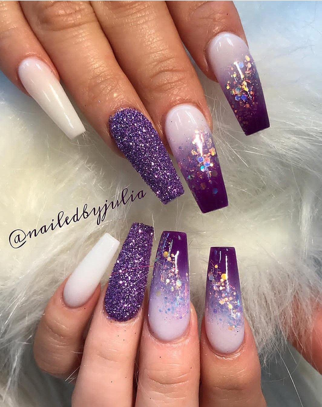 Pin By Lissyliss On Nails Purple Acrylic Nails Purple Nail Art Coffin Nails Designs