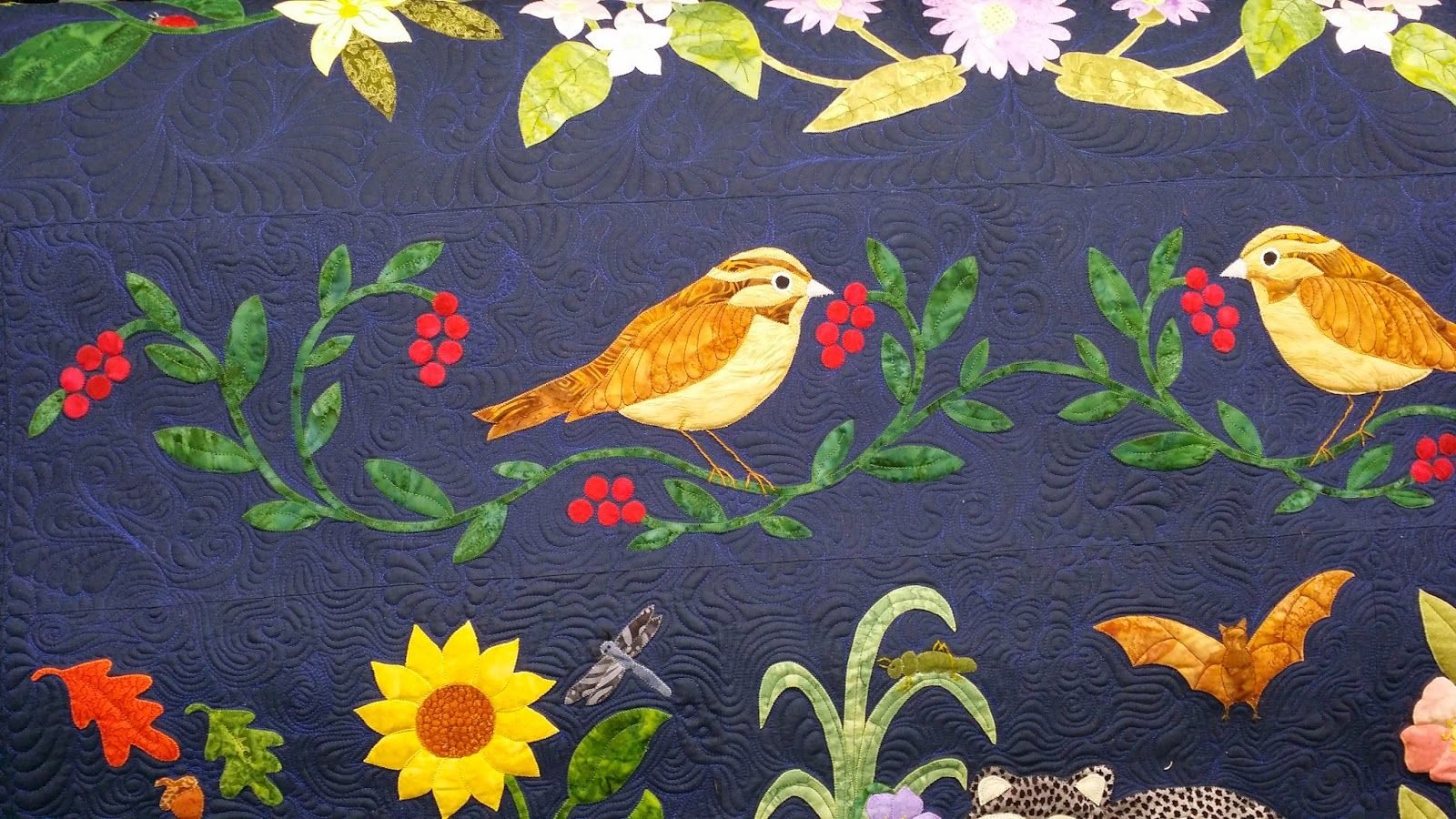 Woodland Creatures Sparrows Quilting Close Up Quilts