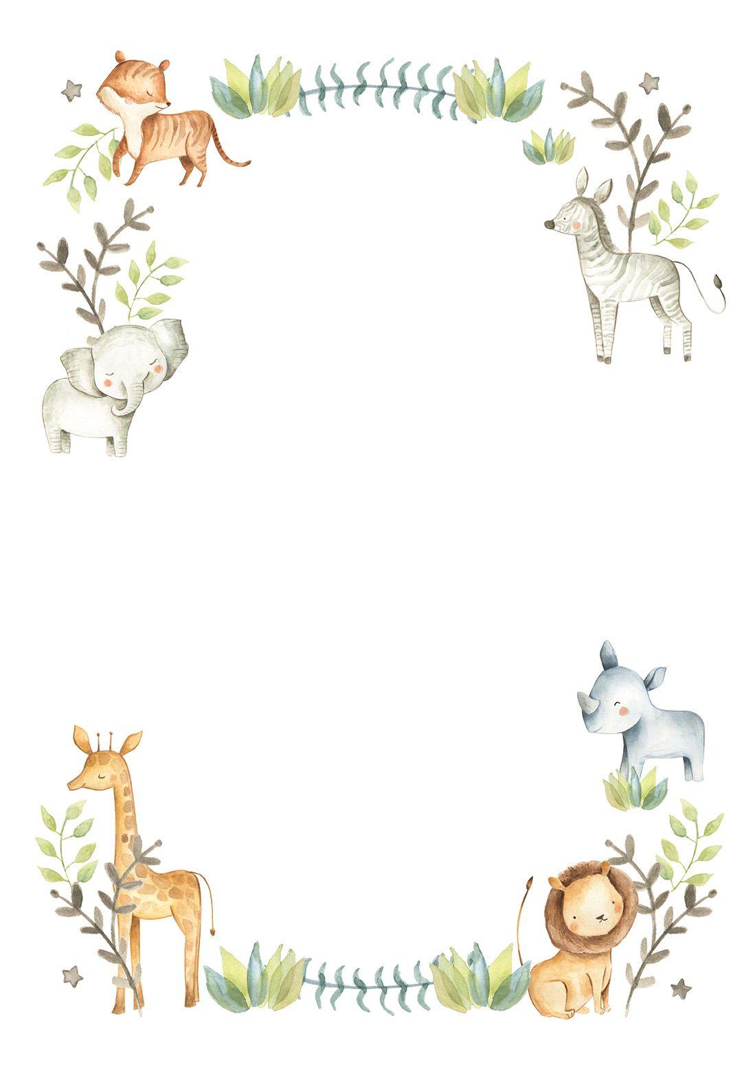 Happy Zoo Animal Wreath - Birthday Invitation Temp