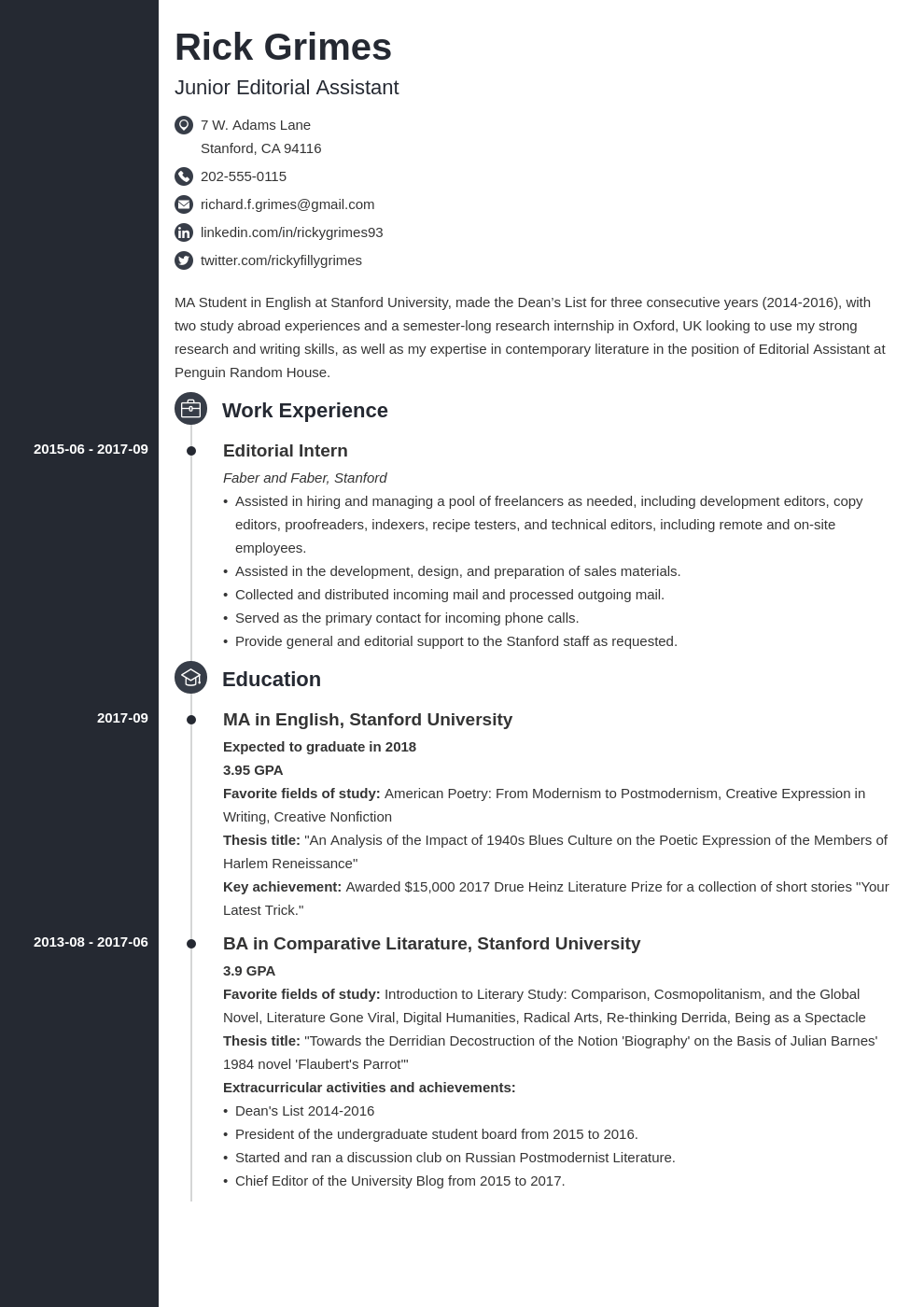 Entry Level Resume Example Template Concept Student Cv Examples Resume Examples Cv Examples