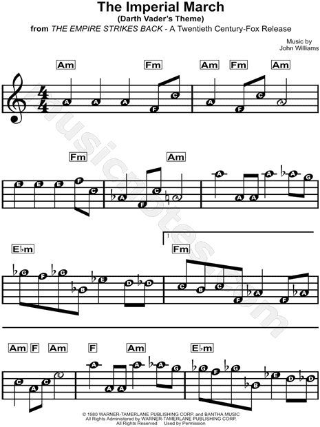 The Imperial March Sheet Music From Star Wars The Empire Strikes