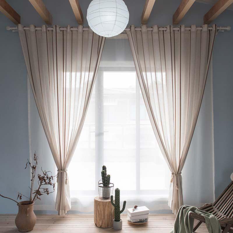 Moderne Gardine Streife Design im Schlafzimmer (1er Pack ...