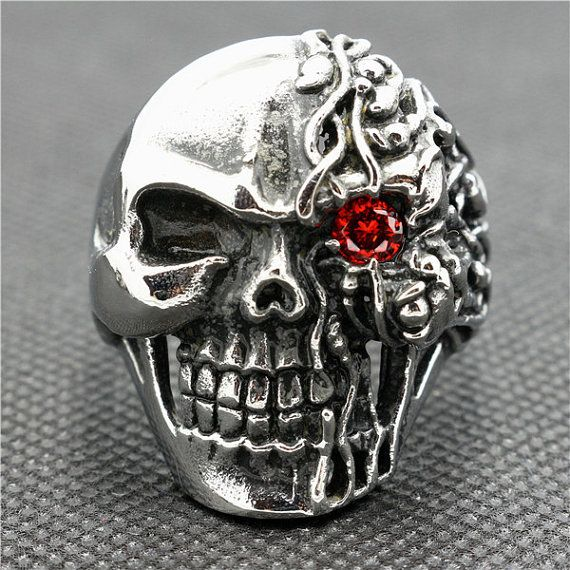 Skull Ring  Stainless Steel Ring  Mens Ring  Steampunk by COVIELLO, $22.00