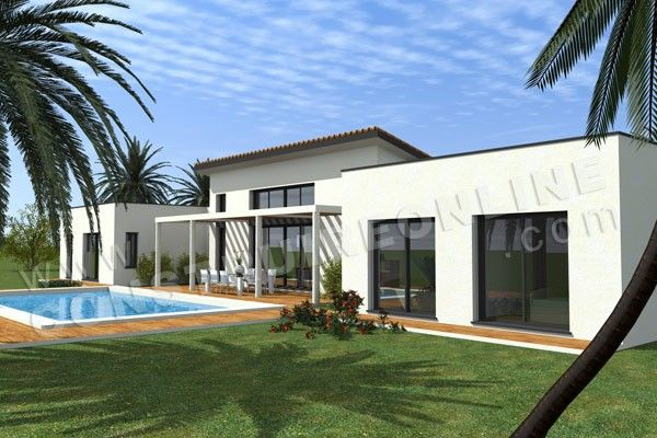 plan maison moderne terrasse PACIFIC Maisons / Houses / Home - plan de maison contemporaine gratuit