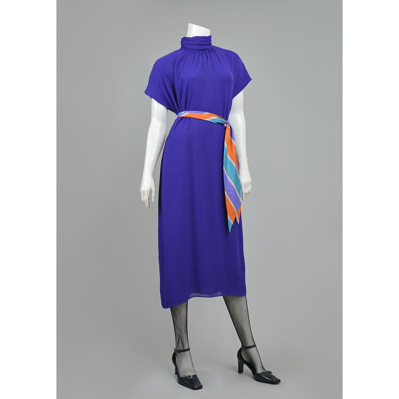 Vintage s dress purple chiffon dress oversize tent dress ruched