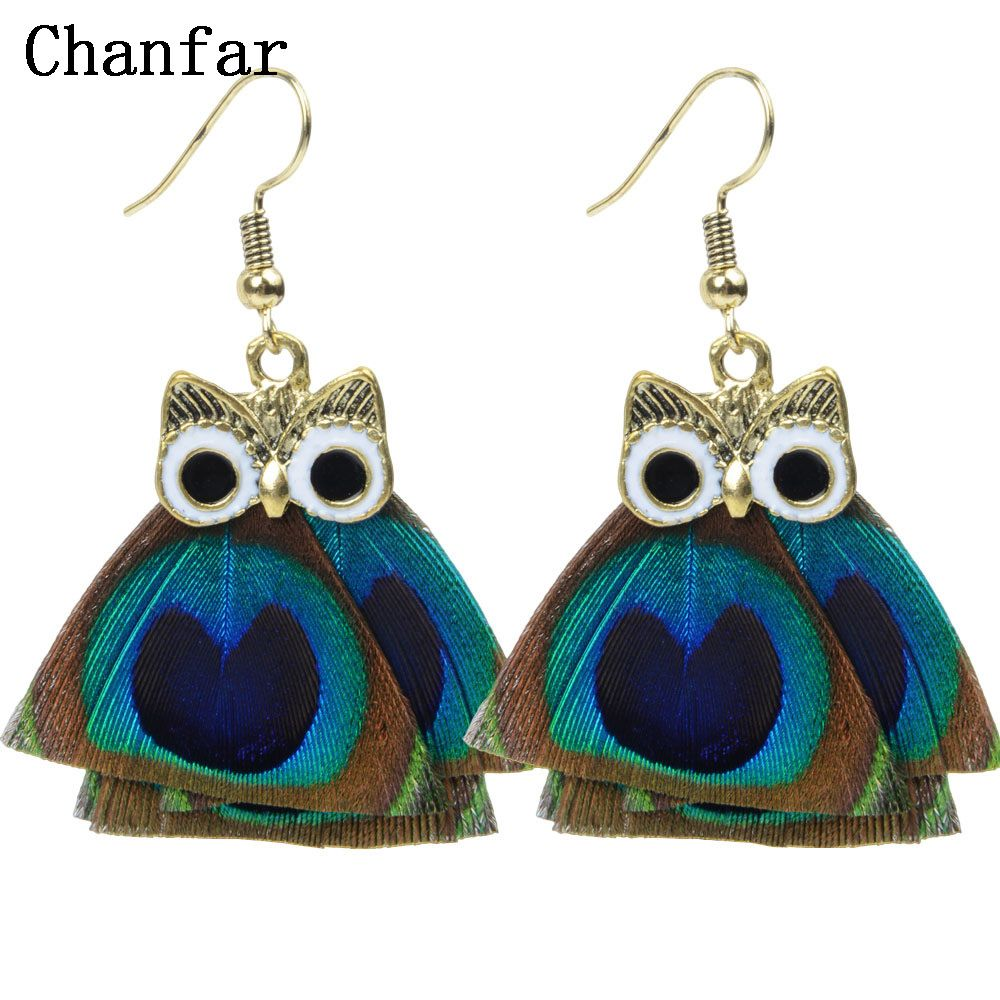 Ethnic natural blue peacock feather earrings women thailand drop owl