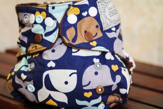 Whale Pocket Cloth Diaper